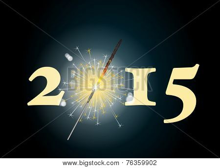 2015 banner with the zero being depicted by a glowing sparkler. EPS10 vector format.