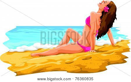 Vector Of Sexy Young Woman Sunbathing In The Beach.