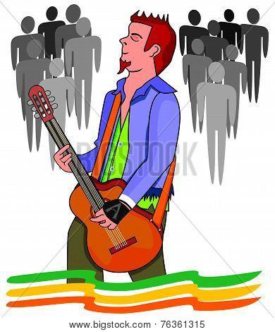 Man Playing The Guitar, Illustration