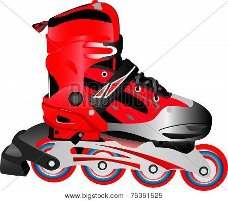 Red Hot Plastic And Fabric Sport Rollerblade, Vector