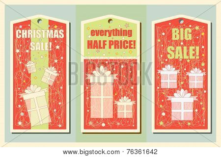 Vintage Christmas and Happy New Year holiday set of sale tags. Christmas sale design. and banners. V