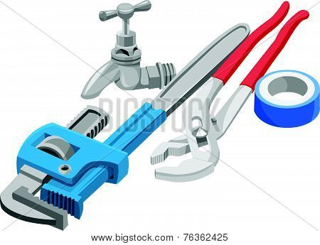 Vector Of Wrench, Tap And Adhesive Tape.