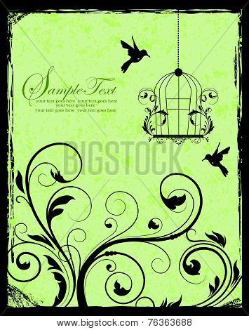Green And Black Birdcage Invitation