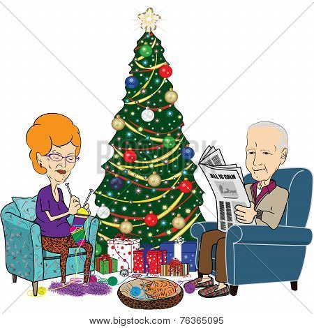 Elderly Man and Woman in Front of Christmas Tree