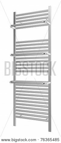 Wall-mounted Towel Rack With Chrome Finishing, 3D Illustration