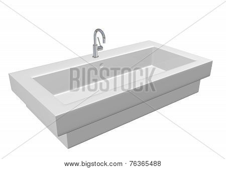 Modern Ceramic White Washroom Sink Set Chrome Fixtures, 3D Illustration