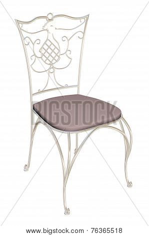Cast-iron Chair With Padded Seat, 3D Illustration