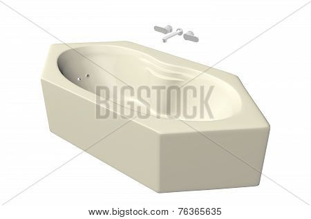 Cream Colored Hexagonal Bathtub With Stainless Fixtures