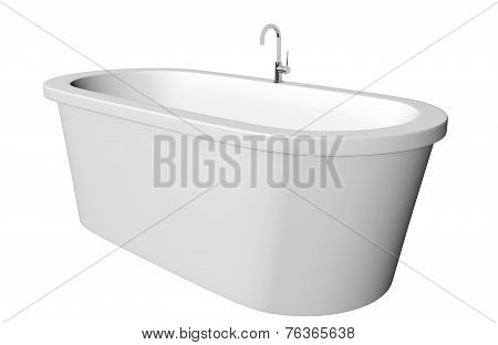White and deep modern white bathtub with stainless steel fixtures