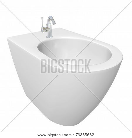 Round Bidet Design For Bathrooms. 3D Illustration