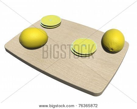 Rectangular Wooden Cutting Board With Whole And Sliced Lemon, 3D Illustration