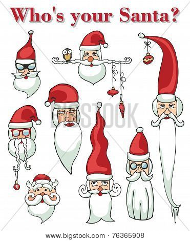 Santa Claus faces set. Stickers, icons,poster