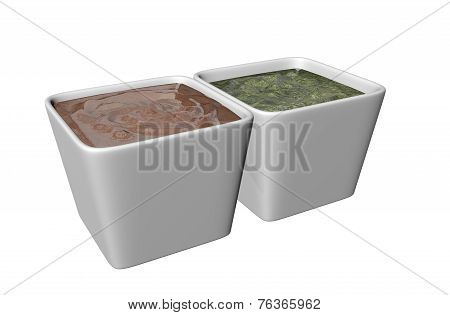 Ceramic Square Shaped Dipping Bowls With Brown And Green Sauces, 3D Illustration