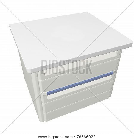 Metal Medical Supply Or First Aid Cabinet, 3D Illustration, Isolated Against A White Background