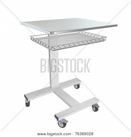 Mobile Stainless Metal Medical Over Bed Table With Wire Mesh Tray