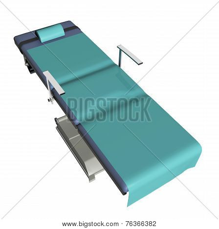 Adjustable Medical Examination Table Or Bed With Green Sheet, 3D Illustration