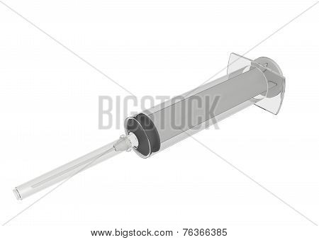 Plastic Medical Syringe, 3D Illustration