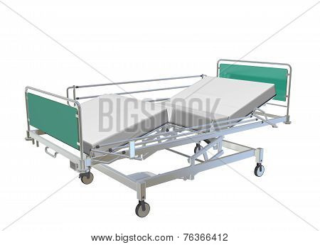 Green And Grey Mobile Adjustable Hospital Bed With Recliner And Side Guards, 3D Illustration