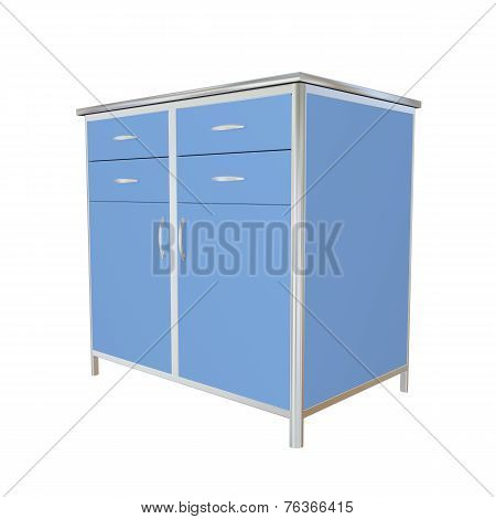 Blue And Stainless Steel Metal Medical Supply Cabinet, 3D Illustration