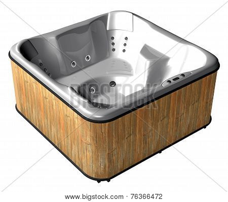 A Wooden Cased Spa Isolated On White