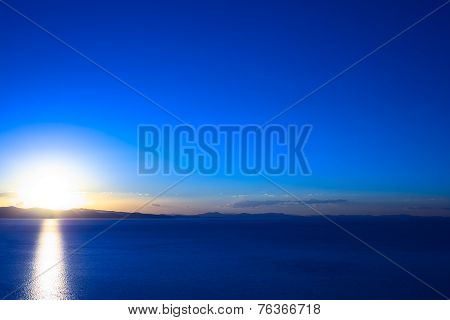 Sunset Over Lake Titicaca at Copacabana, Bolivia