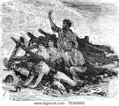 Engraving From The Illustrated History Of The Great Castaway, Vintage Engraving.