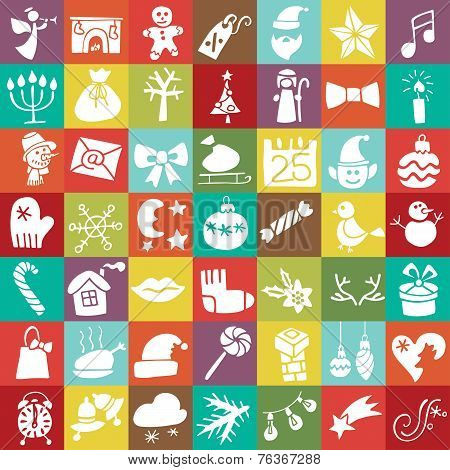 Christmas,New year silhouette icons button set