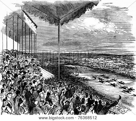 The Large Stand During A Race, Vintage Engraving.