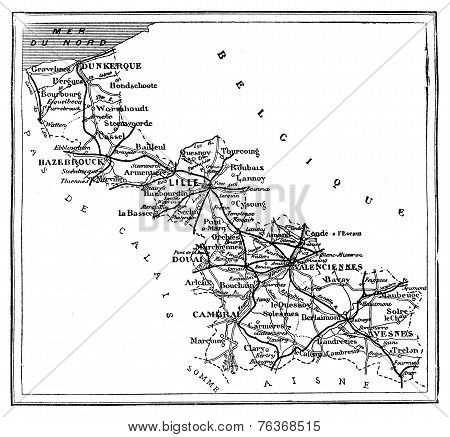 Map Of The Northern Department, Vintage Engraving.
