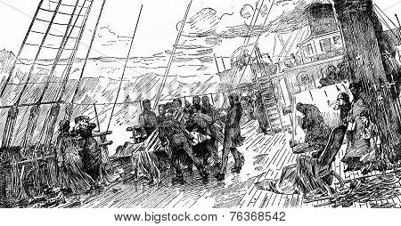 Tables Trips. Funeral At Sea, After The Table Of Mr. Bacon, Vintage Engraving.