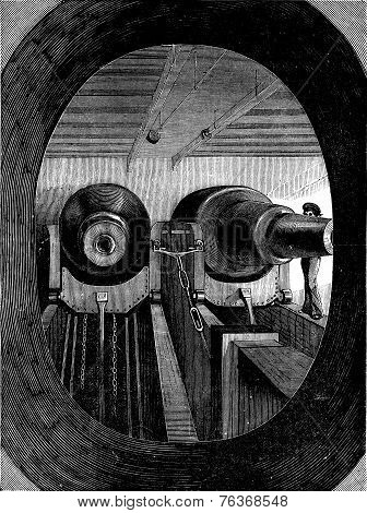 The Machinery Of Destruction, Vintage Engraving.