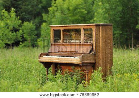 Old Upright Piano Abandoned In A Green Field
