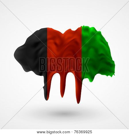 Flag of Afghanistan painted colors