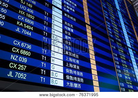 Flight Information Board On Chineese Language In Airport.