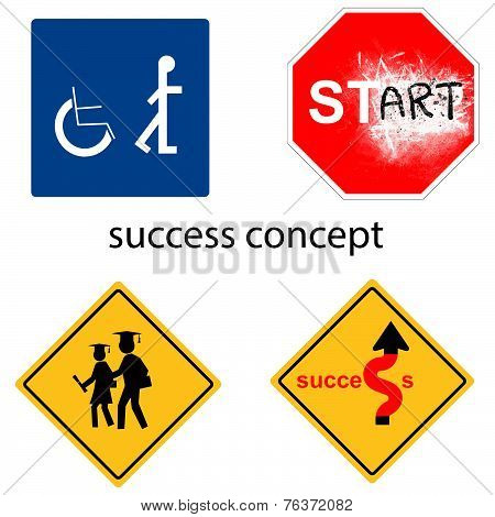 Creative Design Success Concept From Universal Signs Vector