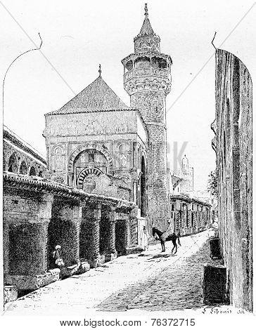 City Of Tunis In Tunisia, Vintage Engraving
