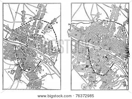 Map Of Paris Under Henri Iv And Paris In The Advent Of Louis Xiv, Vintage Engraving.