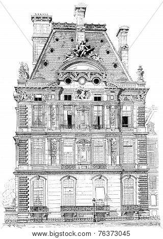 Pavilion Flora, Tuileries Palace, Vintage Engraving.