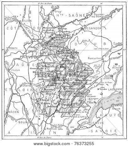 Map Of Department Of Jura, Vintage Engraving.