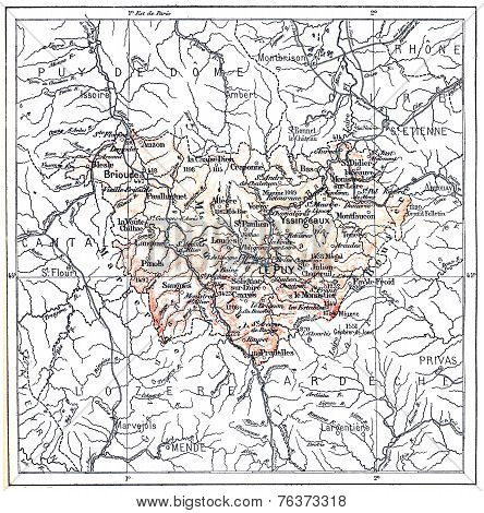 Topographical Map Of The Department Of Haute-loire In Auvergne, France, Vintage Engraving