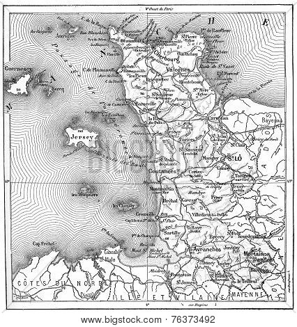 Topographical Map Of Manche In Basse-normandie, France, Vintage Engraving
