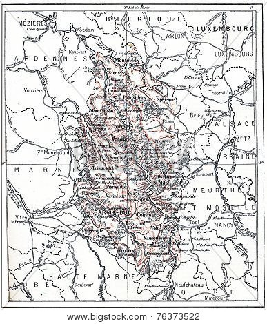 Topographical Map Of Meuse In Lorraine, France, Vintage Engravin