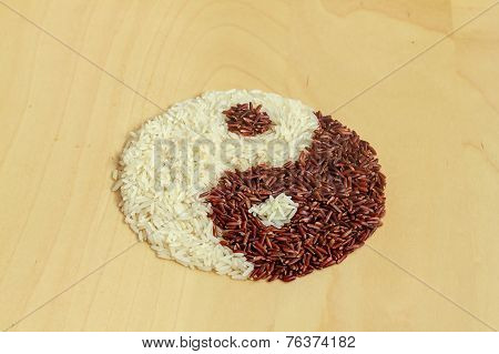 Black And White Rice Forming A Yin Yang