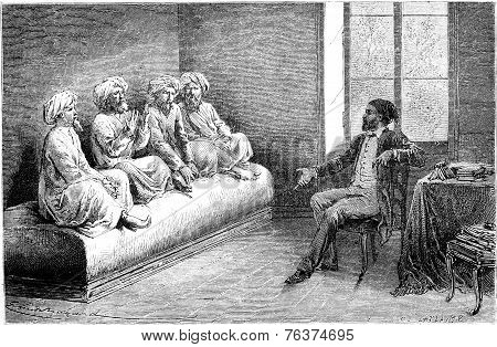 First Interview With Tartar Slow Pilgrims (sunni) In Tehran, Vintage Engraving.