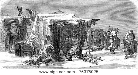 A Market In Livonia, Vintage Engraving.