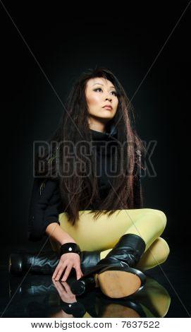 Sitting Brunette Asian Model