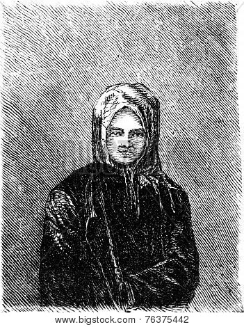 Russian Girl In Lithuania, Vintage Engraving.