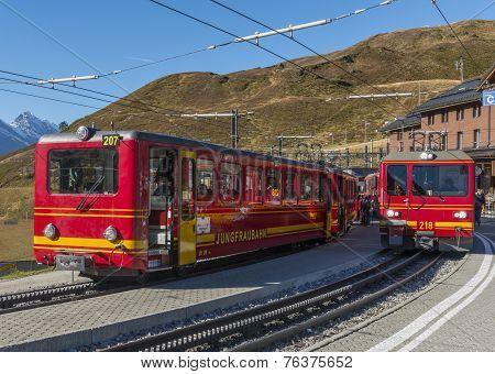Red Trains Of Jungfraubahn