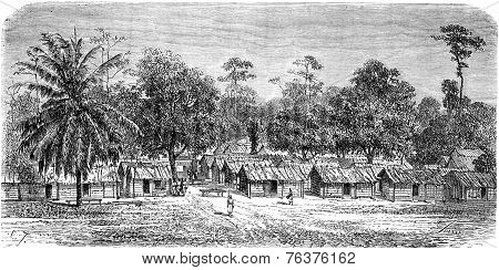 Village Of Skirmishers In Gabon, Vintage Engraving.