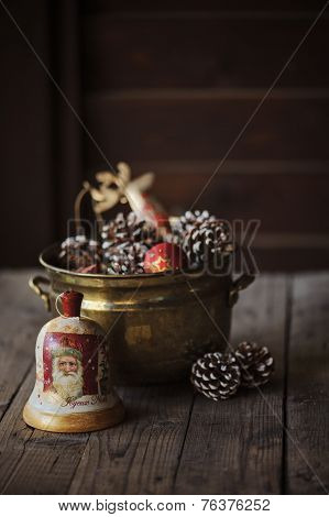 Christmas decoupage bell and jar with decorations